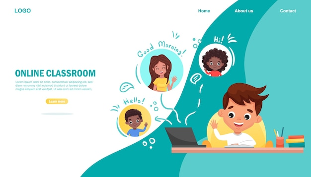 E-learning concept banner. online onderwijs. leuke schooljongen die laptop met behulp van. thuis studeren