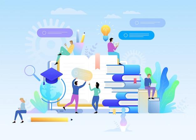 E-learning concept illustratie van jongeren