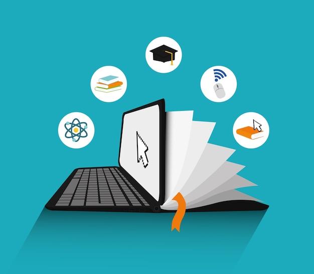 E-learning concept met pictogram ontwerp