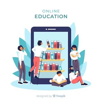 E-learning concept platte achtergrond