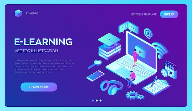 E-learning. innovatief online onderwijs en afstandsonderwijs isometrisch concept.