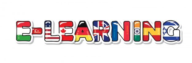 E-learning inscriptie. vlaggen van landenbrieven