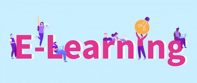 E-learning met inscriptie op blauw