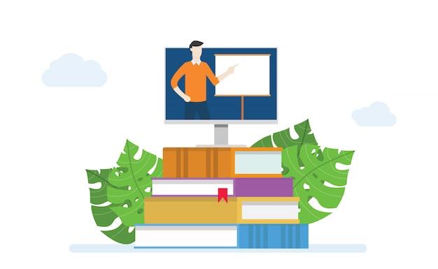 E-learning of online klasseconceptonderwijs met instructeuronderwijs op het monitorscherm in boekstapel met moderne vlakke stijl