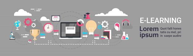 E-learning onderwijs online wereldwijd afstandsonderwijs concept sjabloon voor horizontale spandoek
