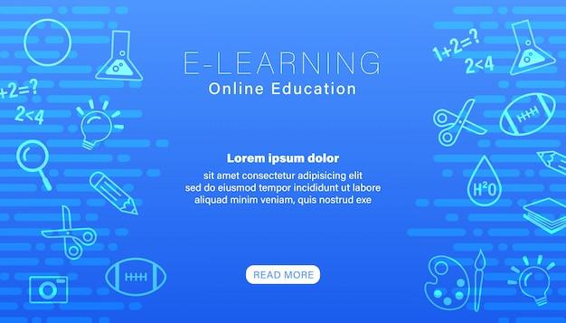 E-learning online onderwijs blauw.