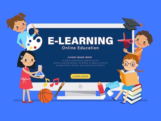E-learning online onderwijs concept illustratie.