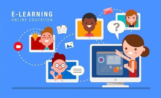 E-learning online onderwijs. online leraar op computermonitor. kinderen studeren thuis via internet.