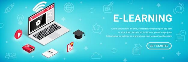 E-learning, online trainingscursussen banner, onderwijsproces 3d vector isometrische concept.
