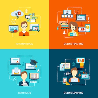 E-learning pictogram plat