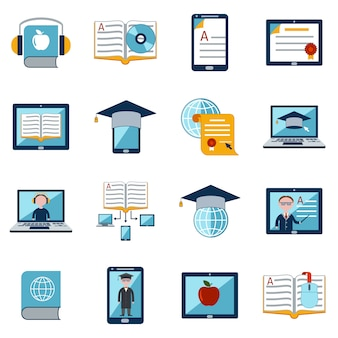 E-learning pictogrammen instellen Gratis Vector