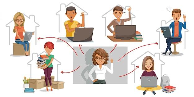 E-learning studentenconcept. illustratie voor de universiteit. technologie voor onderwijs.