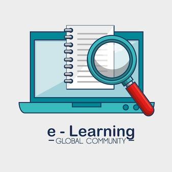 E-learning wereldwijd gemeenschapsconcept