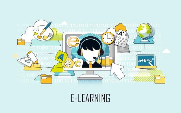 E-learningconcept: leerelementen en computer in lijnstijl