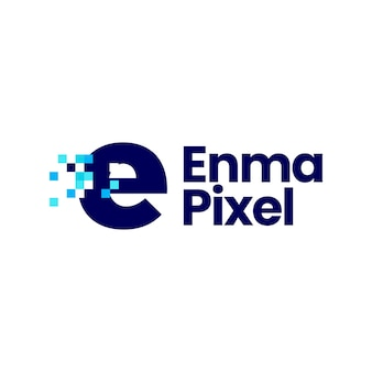 E letter kleine pixel markeren digitale 8 bit logo vector pictogram illustratie