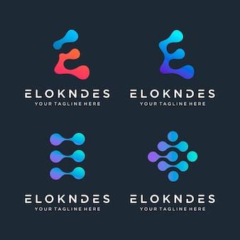 E-logo met stipconcept universeel kleurrijk biotechnologiemolecuul atoom dna-chipsymbool