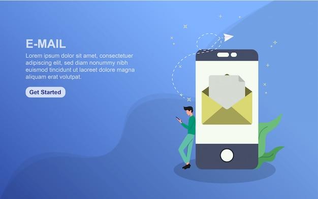 E-mail bestemmingspagina sjabloon. platte ontwerpconcept webpaginaontwerp voor website.