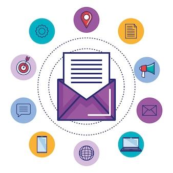 E-mail die digitaal sociaal media conceptontwerp op de markt brengen