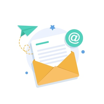 E-mail en messaginge-mail marketing campagne platte ontwerp pictogram vectorillustratie