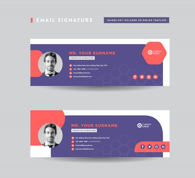 E-mail handtekening sjabloonontwerp | e-mail voettekst | persoonlijke social media cover