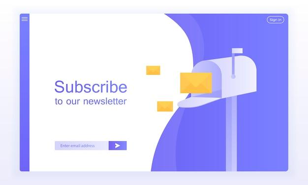 E-mail inschrijven, online nieuwsbrief vector sjabloon met mailbox en verzendknop voor website.