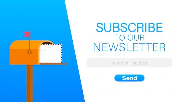 E-mail inschrijven, online nieuwsbrief vector sjabloon met mailbox en verzendknop.