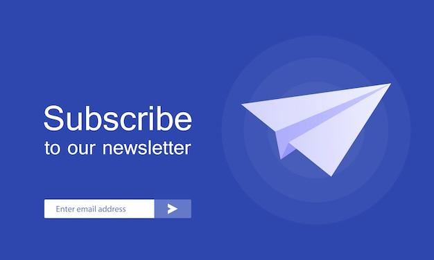 E-mail inschrijven, online nieuwsbrief vector sjabloon met vliegtuig en verzendknop voor website.