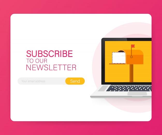 E-mail inschrijven, online nieuwsbriefsjabloon met mailbox en knopsjabloon verzenden