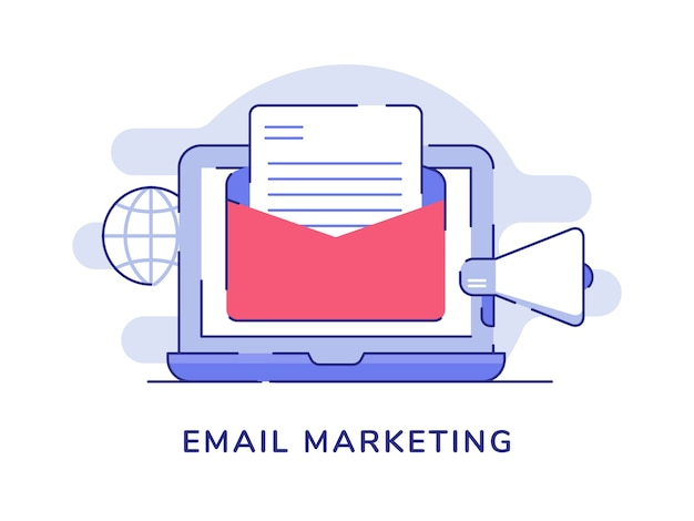 E-mail marketing concept e-mail op display laptop monitor globe megafoon witte geïsoleerde achtergrond