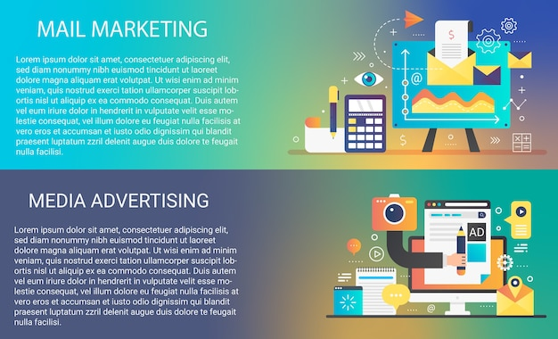 E-mail mobiele marketing in trendy dynamisch verloopstijlconcept met de elementeninzameling van infographicspictogrammen