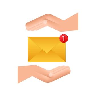 E-mail notificatie concept met handen. nieuwe e-mail. vector illustratie.