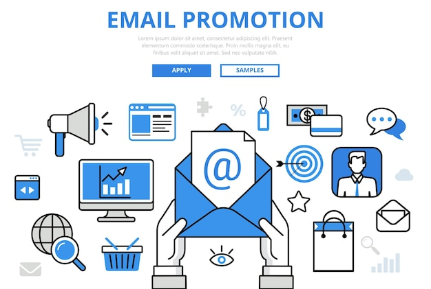 E-mail promotie digitale marketing online promo concept platte lijn kunst pictogrammen.