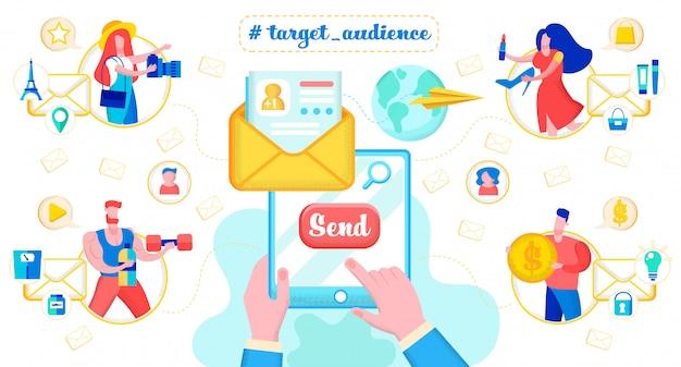 E-mailberichten naar doelgroep publiek vector concept