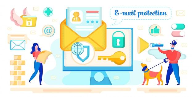 E-mailcorrespondentie bescherming vectorconcept