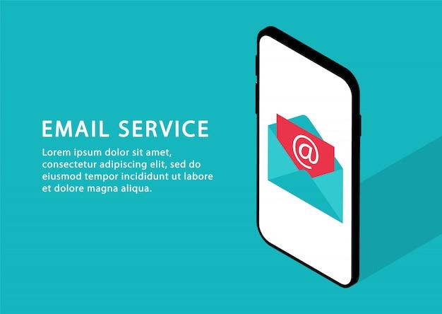 E-maildienst in telefoon. e-mailmarketing, postdiensten. isometrisch. moderne webpagina's voor websites.
