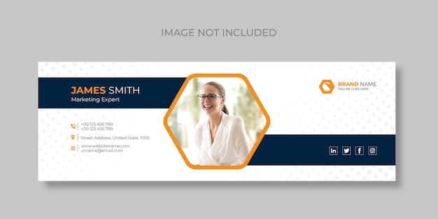 E-mailhandtekening en persoonlijke e-mailvoettekstsjablonen voor sociale media dekken design premium