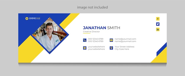 E-mailhandtekening of e-mailvoettekstsjabloon en omslagontwerp voor sociale media premium vector premium vector