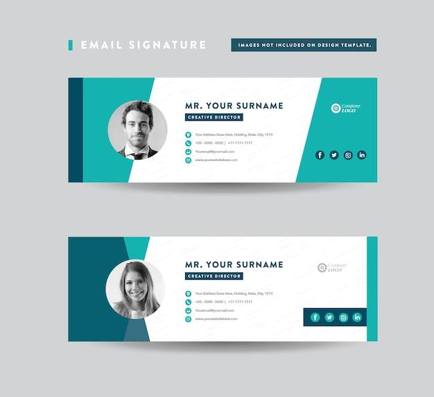 E-mailhandtekening sjabloonontwerp, e-mailvoettekst, persoonlijke sociale media-omslag