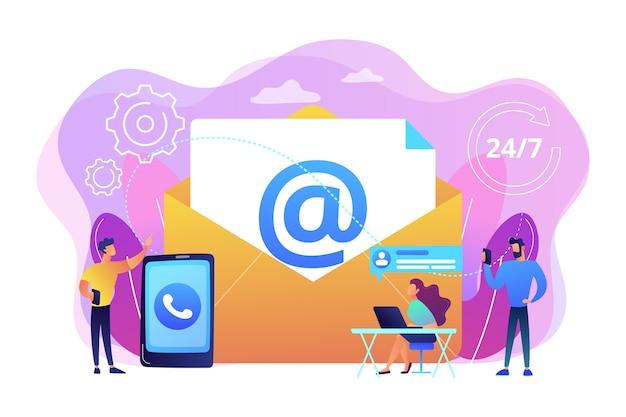 E-mailmarketing, chatten via internet, 24 uur per dag ondersteuning. neem contact op, neem contact op, neem contact met ons op, online feedbackformulier, praat met klantenconcept.