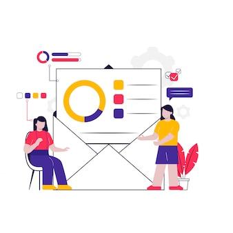 E-mailmarketing concept ilustration voor bestemmingspagina