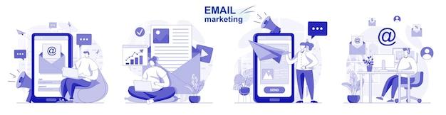 E-mailmarketing geïsoleerde set in plat ontwerp mensen sturen reclamemailings zakelijke promotie