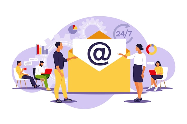 E-mailmarketing, internetchatten, 24 uur per dag ondersteuningsconcept.