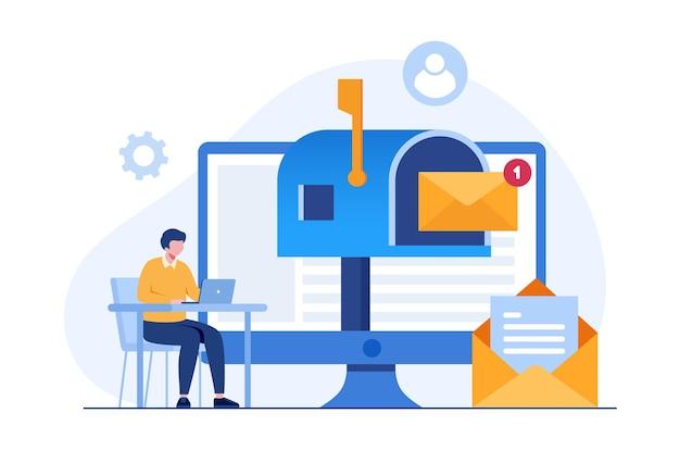 E-mailmarketing, online bedrijfsstrategie, reclame, vlakke illustratievector
