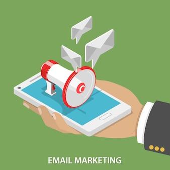 E-mailmarketing plat isometrisch