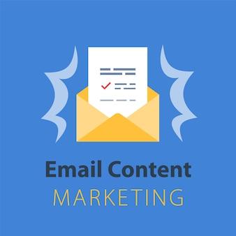 E-mailmarketingstrategie, nieuwsbriefconcept, geopende envelop, brief schrijven, nieuwssamenvatting, vlakke afbeelding