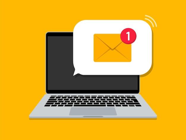 E-mailmelding op laptop. nieuw bericht. e-mailbericht op laptopscherm. vlakke stijl. illustratie.