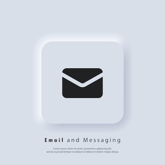 E-mailpictogram. envelop. logo nieuwsbrief. pictogrammen voor e-mail en berichten. e-mailmarketingcampagne. vector eps 10. ui-pictogram. neumorphic ui ux witte gebruikersinterface webknop. neumorfisme