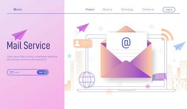 E-mailservices online abonneren en ontvangen nieuwsbrief via laptop