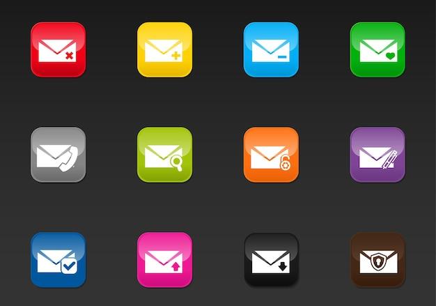 E-mailvectorpictogrammen voor gebruikersinterfaceontwerp