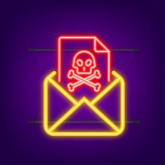 E-mailvirus neonpictogram computerscherm viruspiraterij hacking en beveiligingsbescherming